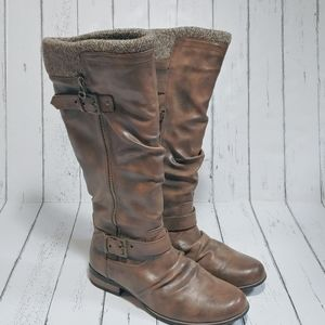 K STUDIO Brown faux fur lining knee height boots